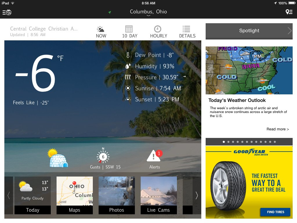 Windchill Warning Day – A Good Day for Weather Apps – Ed Tech Emergent