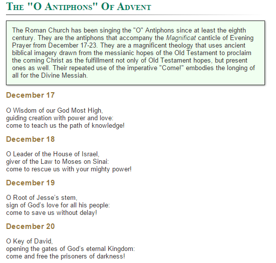 O Antiphons  of Advent