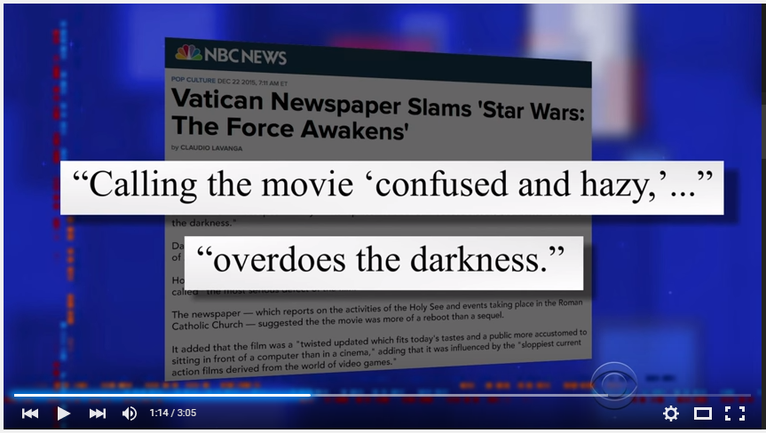 The Vatican Isn t Feeling The Force