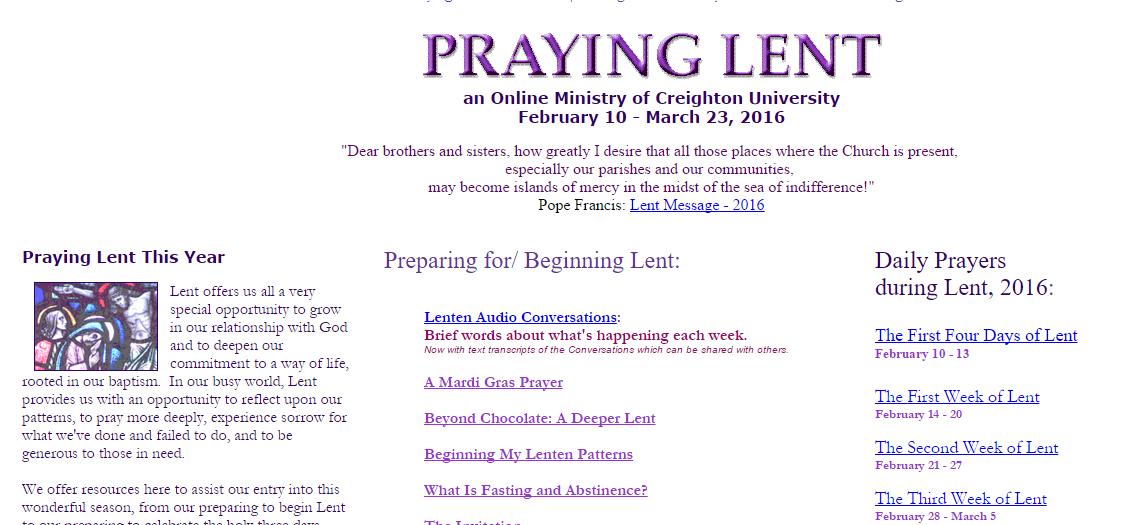 Creighton Online - Lent