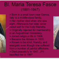 Saint O'the Day: Blessed Maria Teresa Fasce (Oct. 12th)