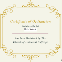 Today, I Was Ordained in the Church of Universal Suffrage